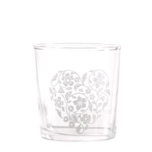 Porcellana Bianca Bicchiere Cuore Con Fiori Babila
