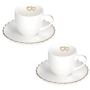 Porcellana Bianca Set 2 Tazze Caffe Momenti Oro
