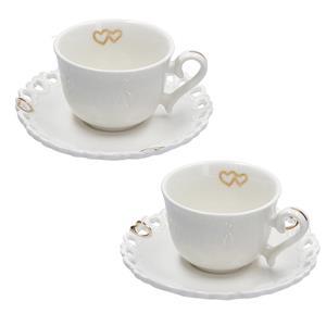 Porcellana Bianca Set 2 Tazze Valentino Oro