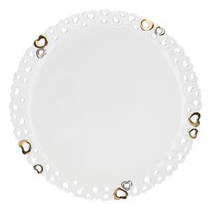 Porcellana Bianca Piatto Torta Traforato Valentino Oro