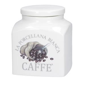 Porcellana Bianca Barattolo Caffe Deco