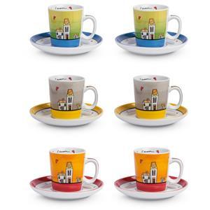 Egan Set 6 Tazze Caffe Con Piattino Le Casette