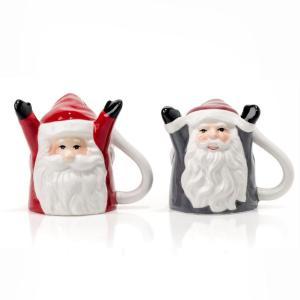 Evviva Set 2 Tazze Caffe' Upside Down Babbo Natale Con Mani